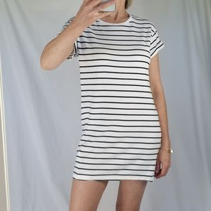 H&M stretch white and blue shirt mini dress XS